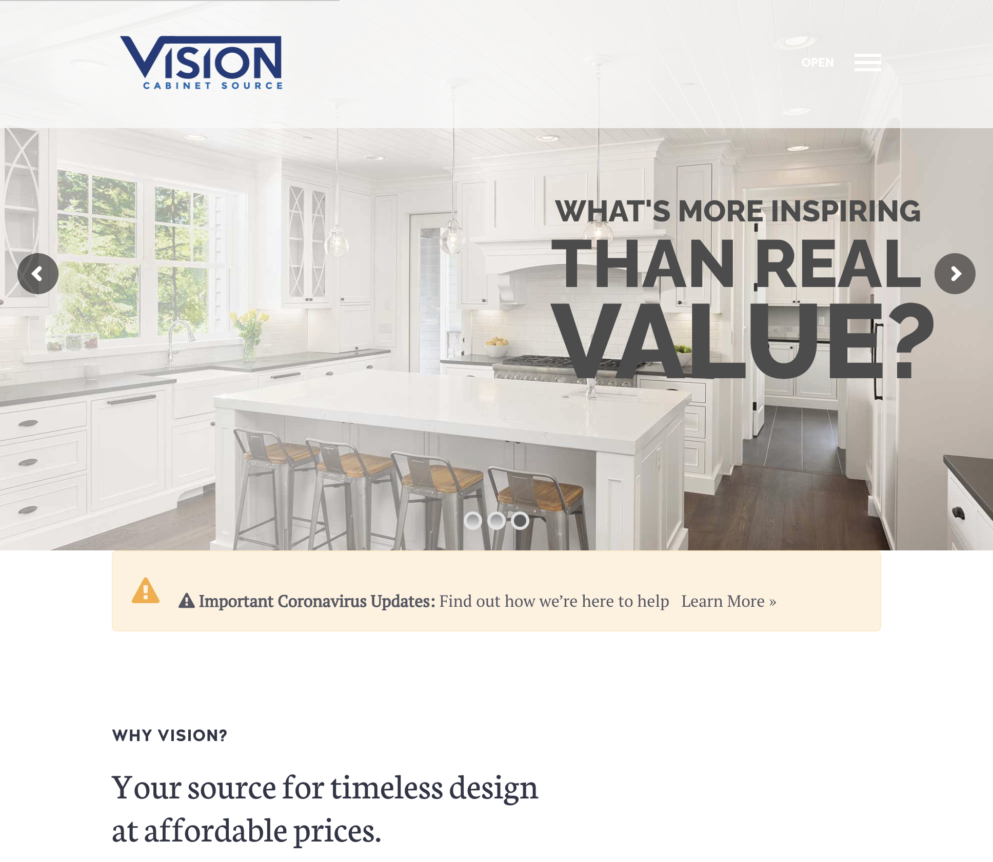Vision Cabinets Web site